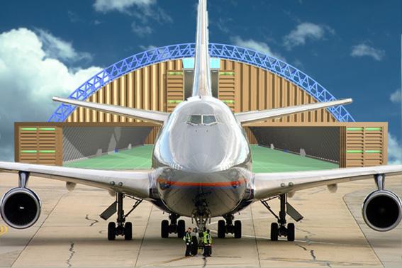 progetto di hangar 100 metri